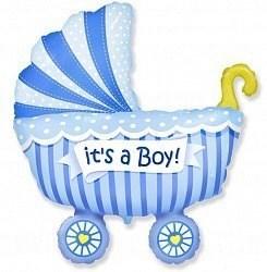 """Воздушный шар на выписку """"Коляска"""" мальчик."""
