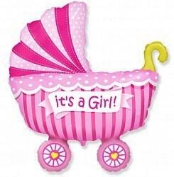 """Воздушный шар на выписку """"коляска"""" девочка."""