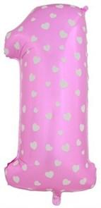 """Воздушный шар цифра """"1"""" розовая, с сердечками."""