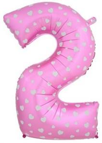 """Воздушный шар цифра """"2"""" розовая, с сердечками."""