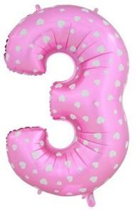 """Воздушный шар цифра """"3"""" розовая, с сердечками."""
