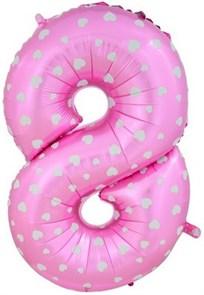 """Воздушный шар цифра """"8"""" розовая, с сердечками."""