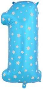 """Воздушный шар цифра """"1"""" голубая, со звездочками."""