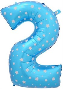 """Воздушный шар цифра """"2"""" голубая, со звездочками."""