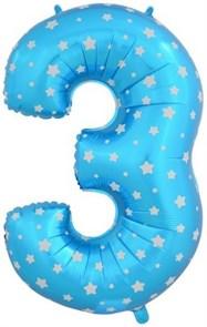 """Воздушный шар цифра """"3"""" голубая, со звездочками."""