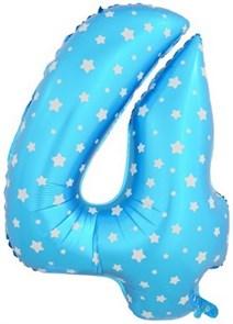 """Воздушный шар цифра """"4"""" голубая, со звездочками."""