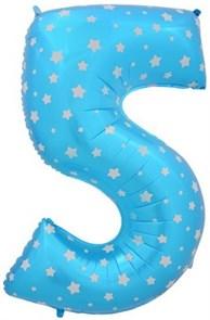 """Воздушный шар цифра """"5"""" голубая, со звездочками."""