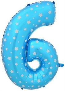 """Воздушный шар цифра """"6"""" голубая, со звездочками."""