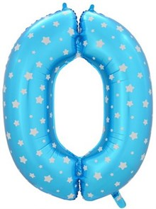 """Воздушный шар цифра """"0"""" голубая, со звездочками."""