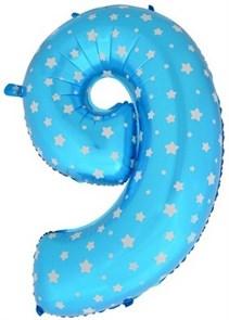 """Воздушный шар цифра """"9"""" голубая, со звездочками."""