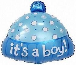 """Воздушный шар на выписку из роддома """"Шапочка для мальчика"""" 48 см"""