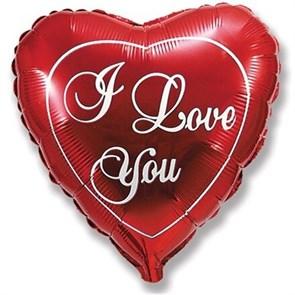 """Воздушный шар Сердце 81 см с надписью """"i love you"""" красный"""