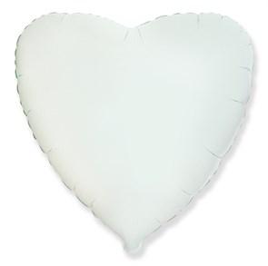 """Фольгированный воздушный шар сердце 46 см """"Белый"""""""