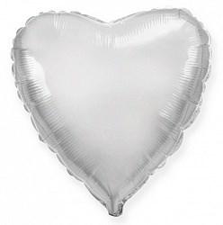 """Фольгированный воздушный шар сердце 46 см """"Серебро"""""""