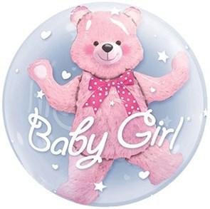 Воздушный шар фигура Медвежонок в шаре девочка