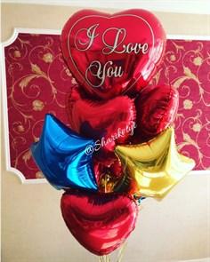 """Композиция из воздушных шаров для второй половинки """"I love you"""" на 14 февраля"""