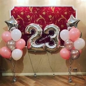 """Композиция из воздушных шаров на день рождения """"Серебро"""""""