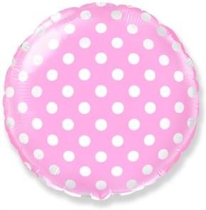 """Воздушный шар круг 46см """"горошек"""" розовый"""