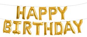 """Гирлянда из фольгированных букв """"Happy Birthday"""" золото"""