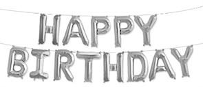"""Гирлянда из фольгированных букв """"Happy Birthday"""" серебро"""