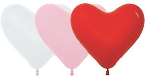 Латексный воздушный шарик 30 см сердце ассорти