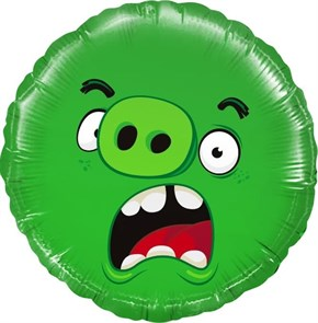 Фольгированный круг Angry Birds Зеленый