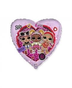 """Фольгированный воздушный шар """"Куклы LOL"""" Сердце"""