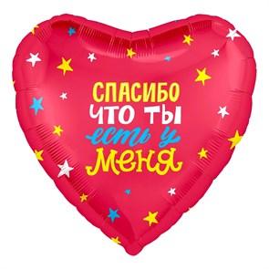 """Воздушный шар """"Сердце"""" 46см с надписью """"Спасибо, что ты у меня есть!"""""""