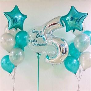 """Набор воздушных шаров с цифрой и """"Баблс"""""""
