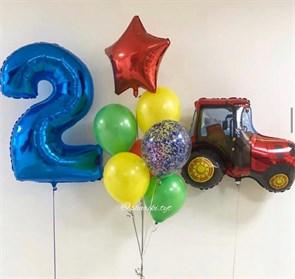 Композиция воздушных шаров с трактором