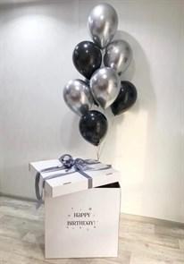 Воздушные шары хром в коробке сюрприз