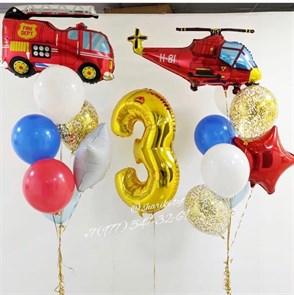 Набор воздушных шаров с вертолетом и пожарной машиной