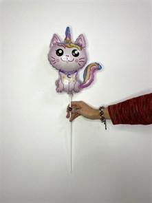 """Фольгированный шар на палочке """"Котенок единорог"""", розовый."""