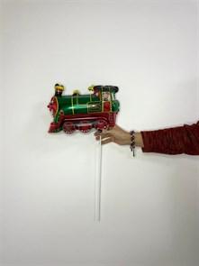 """Фольгированный шар на палочке """"Паровозик"""" зеленый"""