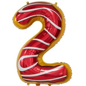 """Воздушный шар цифра """"2"""" пончик"""