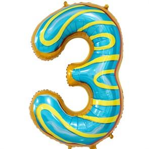 """Воздушный шар цифра """"3"""" пончик"""