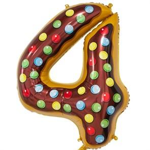 """Воздушный шар цифра """"4"""" пончик"""