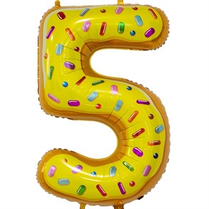 """Воздушный шар цифра """"5"""" пончик"""