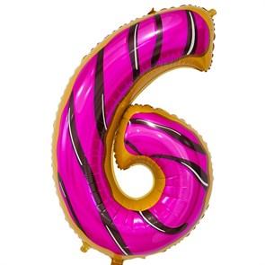 """Воздушный шар цифра """"6"""" пончик"""