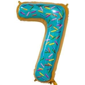 """Воздушный шар цифра """"7"""" пончик"""