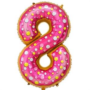 """Воздушный шар цифра """"8"""" пончик"""