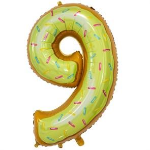 """Воздушный шар цифра """"9"""" пончик"""