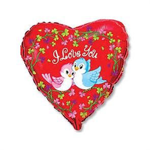 """Воздушный шар Сердце 46см """"Птички воркующие"""" для влюбленных"""