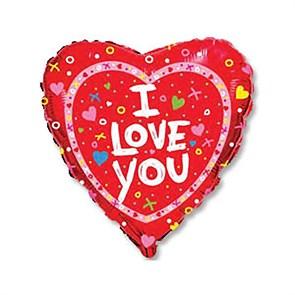 """Воздушный шар Сердце 46см """"I love you"""" для влюбленных"""
