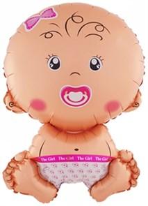 """Воздушный  шарик на выписку """"Малыш"""" девочка."""