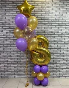 Воздушные шарики на день рождения с цифрой на стойке