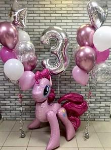 """Воздушные шары на день рождения с ходячей фигурой пони """"Пинки Пай"""""""