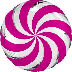 """Воздушный шар круг 46см """"леденец"""" малиновый"""