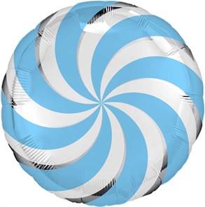 "Воздушный шар круг 46см ""леденец"" голубой"