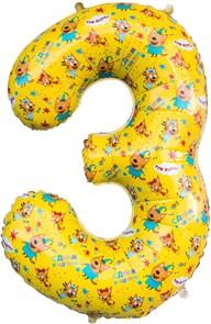 """Фольгированная цифра """"3"""" Три Кота"""